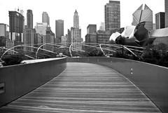 Walk (QuantumJedi) Tags: bridge bw chicago x millenniumpark bp serpentine lightroom bpbridge gx10 pritzkerpavilion