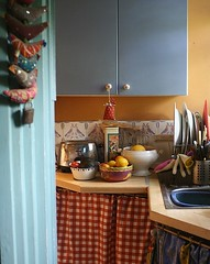 Cluttered kitchen corner