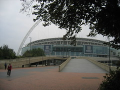 arriving at Wembley