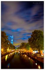 Amsterdam - Prinsengracht (Zelden----MMF) Tags: longexposure blue urban holland church netherlands amsterdam night clouds evening canal toren scenic nederland gracht hccity