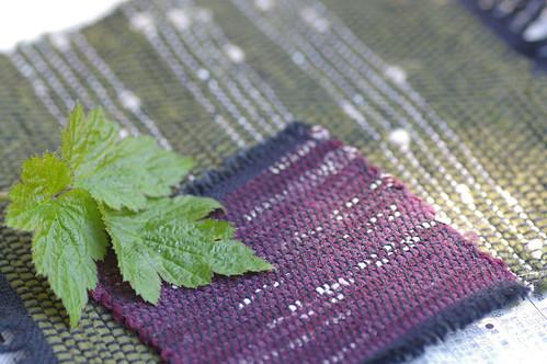 裂織のコースター、テーブルセンターとシュウメイギクの葉
