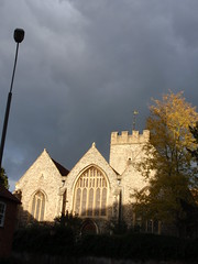 St Mary's Church, Quarry St, Guildford, bright sun, inky sky, taken from Millbrook 5 (nearerdark) Tags: windows light england sky sun building tower church window glass st bright mary grade medieval surrey stained marys guildford inky quarry saxon listed i
