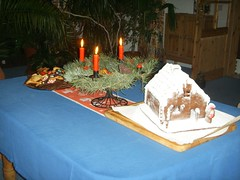 gingerbread house - made ourselves (lady black) Tags: christmas light cookies weihnachten candles advent adventwreath gingerbreadhouse 2007 ayearofholidays