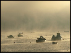Misty morning (ExeDave) Tags: uk morning england mist ferry river boats december searchthebest estuary explore coastal devon gb yachts 2008 waterscape exe starcross ferryboats blueribbonwinner interestingness500 exeestuary teignbridge