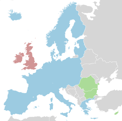 carte de l'espace Schengen
