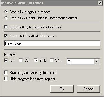 mdAxelerator create Windows folder