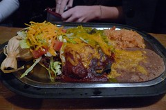 maria's combination plate (jackrael) Tags: chile christmas food refriedbeans taco redandgreen tamale spanishrice newmexicanfood combinationplate santafenewmexicochristmas
