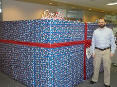 Me next to Sarah's cubicle after it was wrapped.