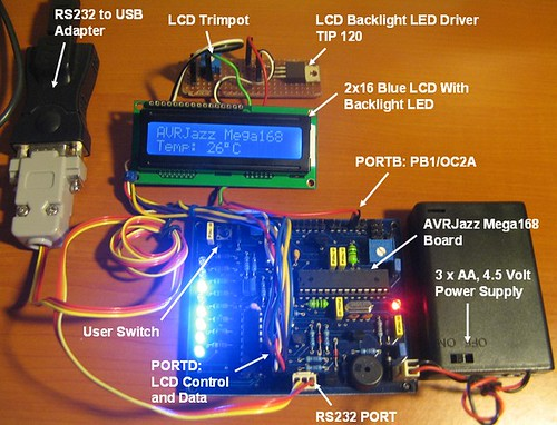 AVR LCD Thermometer Using ADC and PWM Project