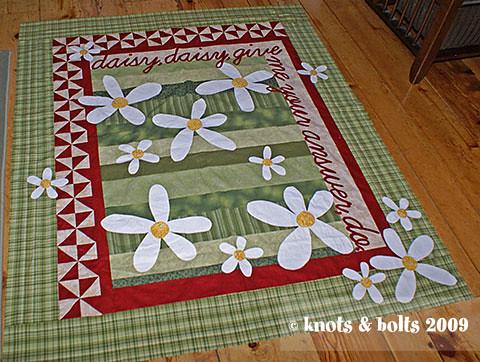 daisy quilt top