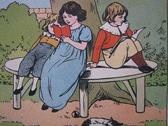 Two O'Clock: Reading time (Heart felt) Tags: vintage children reading illustrations books childrens sittingundertree