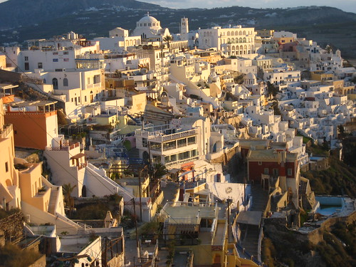 Fira under the glow of sunset