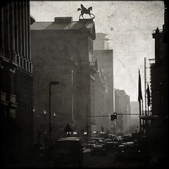Pegasus (manganite) Tags: street sunset people urban bw white black trafficlights berlin men cars texture topf25 statue contrast digital buildings germany dark square geotagged dawn evening interestingness high topf50 nikon women europe afternoon dof bokeh tl framed candid pegasus unterdenlinden perspective streetscene overlay stranger explore d200 nikkor dslr mitte textured schauspielhaus interestingness412 i500 18200mmf3556 utatafeature manganite nikonstunninggallery mywinners date:month=december date:year=2008 charlottenstrase date:day=31 geo:lat=52517061 geo:lon=13390623 format:orientation=square format:ratio=11