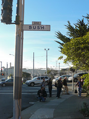 End Bush (Dawn Endico) Tags: sanfrancisco california sign event inauguration upcoming:event=1268657 inaugurationday2009 obamastreetsign