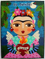 FRIDA KAHLO & FLAMING HEART painting by LuLu (MyPinkTurtleStudio) Tags: angel painting folkart ebay heart lulu valentine spanish diegorivera fridakahlo etsy flaming mexicanart