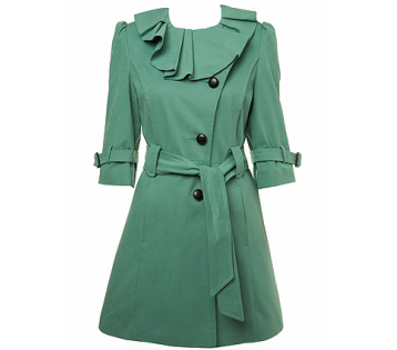 Green Frill Neck Mac - - Miss Selfridge