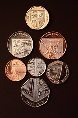 2009.01.28 - The full set (a.drian) Tags: uk greatbritain two money one coin unitedkingdom coins britain five penny ten change british sterling 365 2p pound twenty 1p 20p fifty thequeen pence coinage numismatic 1 50p 5p 60mmmacro 10p twopence royalarms 50d 365days numismatism eos50d ef60mmmacro