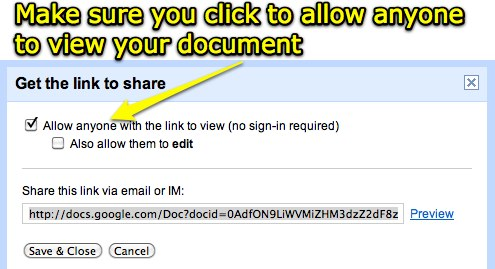 Allow anyone to view your document