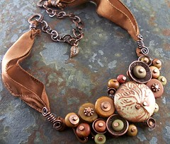 tree of life necklace 008 (Lune2009) Tags: tree glass lune necklace leaf handmade cinnamon silk button metalwork stoneware moukaite howlite antiquedcopper lunedesigns redcreekjasper