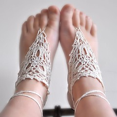 my new design (isamocrochet) Tags: wedding holiday beach walking sand lace sandals crochet barefoot lacy ecru
