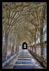 Cathedral walkway (Roger.C) Tags: old windows stone canon floor cathedral corridor walkway gloucester 1855mm hdr 30d goldenglobe blueribbonwinner photomatrix great123 hccity