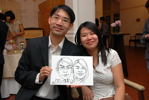 Caricature live sketching for wedding dinner7
