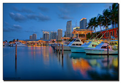 Bayside During the Blue Hour (Fraggle Red) Tags: blue red orange yellow reflections downtown florida miami bluehour fishingboats hdr baysidemarketplace canonefs1785mmf456isusm 3exp golddragon megashot miamidadeco dphdr gpsetest