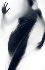 BEHIND THE VEIL (Koanz) Tags: lighting portrait woman france art wet water canon studio nude veil montpellier human transparency jerome expressive behind conceptual voile homme nue tissu conceptuel koanz foucout