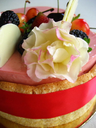 Strawberry Mascarpone Mousse Cake side view