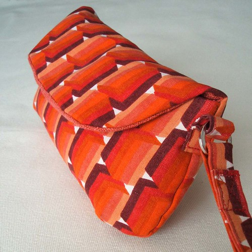 Vintage orange cubes clutch purse