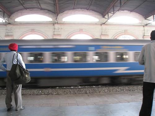 A passing train at the Jalandhar Junction station
