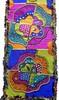 Stained glass bottom (Karen Cattoire) Tags: original art colorful handmade embroidery originalart creation fabric fiberart patchwork beading textileart tissu abstrait textiledart karencattoire fibretextile arttexilte
