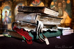 Antique Prayer Books (Tanjica Perovic) Tags: old texture church vintage word photography words ancient worship icons fotograf photographer dof treasure bokeh antique traditional faith prayer serbia religion culture stack christian indoors monastery sacred getty christianity balkans wisdom tradition orthodox gettyimages oldbooks srbija serbian volumes orthodoxchristianity iconostasis  pravoslavie churchinterior pirot oldchurchslavonic srpski sigma1770mm fotografija  canoneos400d holybooks churchbooks   orthodoxserbia orthodox spiritualityhorizontalindoorscloseupserbiachurcholdstacktraditionalculturereligionholybooknopeoplephotographyfocusonforegroundpirot octoechos  oktoikhorosmoglasnik   annualfixedcycleofservices menaion liturgicalbookusedintheorthodoxchurches vespersmatinsthedivineliturgycomplineandonsundaysthemidnightoffice  tanjicaperovicphotography availableforlicensingongettyimages