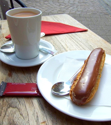eclair and hot choc