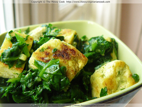 Spinach With Subtle Garam Masala Tofu Recipe (Vegan Saag Tofu)