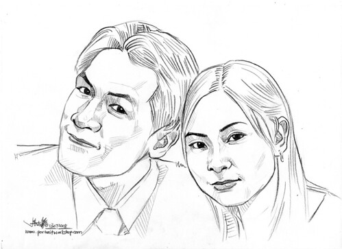 Couple portraits in pencil (simple strokes) 130708