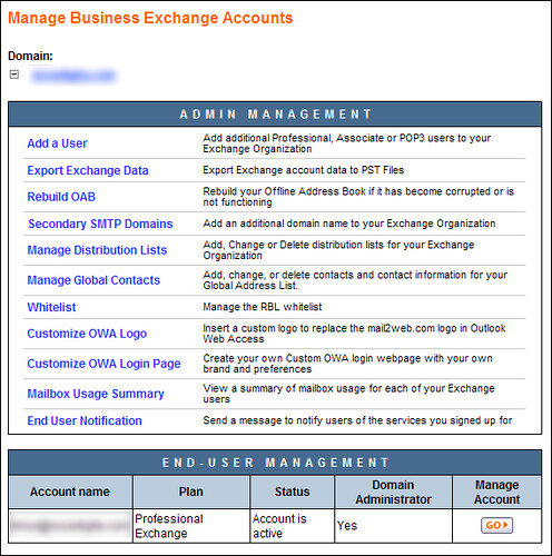 Manage business exchange accounts...