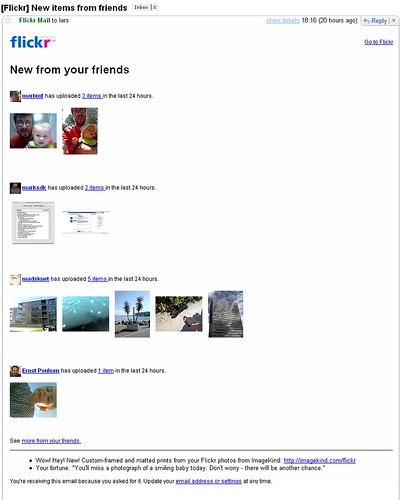 Eksempel på en mail fra Flickr