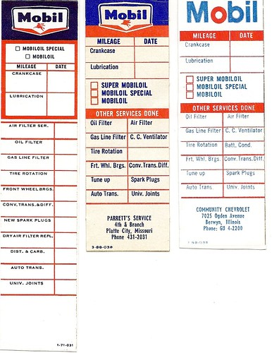 Mobil oil change stickers, 1960s-70s