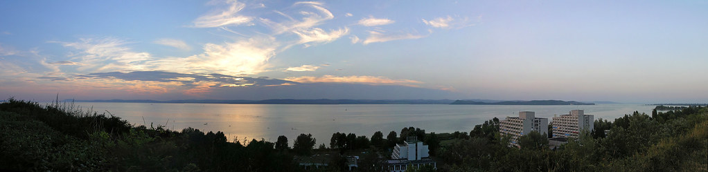Full sunset panorama from the plateau of Balatonfoldvar