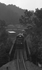 Coming Into Town (oldoinyo) Tags: railroad trees mountains train landscape diesel uv scenic northcarolina locomotive uva ultraviolet