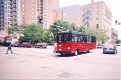 Chicago trolley Company sightseeing trolley bus. Chicago Illinois. July 2006.