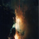 Europe 1996 r6 23 Amsterdam, The Netherlands - same view of Rusland coffee shop shooting fireworks at our hotel, but with splice corrected from botched photo developing thumbnail