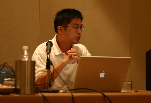 Chang Liu of Ohio Univ talking about science games in SL