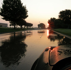 Wet Sunshine (Ben Morrow) Tags: road street morning trees sun reflection nature wet water car rain sunrise glow september condensation rays 2008 dripping beams fromthecar pontiacgrandam ysplix sp560uz