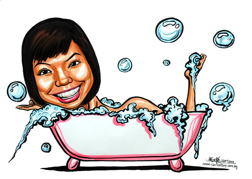 Caricature in bathtub