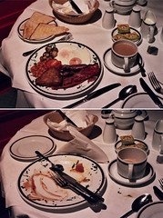 breakfast (bobby stokes) Tags: food london breakfast tomato mushrooms hotel bacon diptych tea toast sausage meat pork bakedbeans fryup fullenglishbreakfast friedeggs hashbrown fullenglish