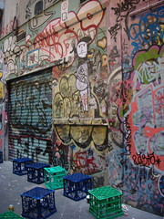 milk crates (louisa_catlover) Tags: urban streetart graffiti alley australia melbourne laneway colourful chaotic centreplace milkcrates