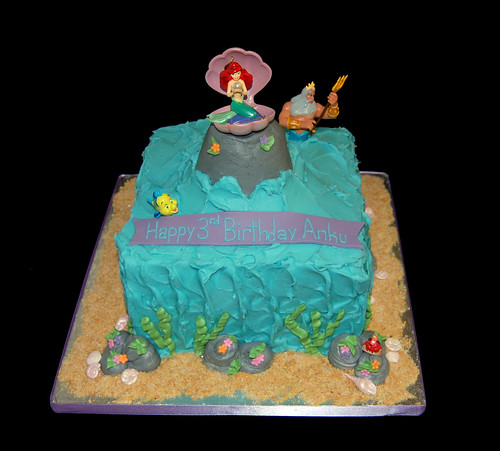 Ocean scene cake for a Little Mermaid themed party