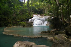 Paradise (Johan_Leiden) Tags: wood blue nature water pool forest thailand waterfall paradise crystal clear kanchanaburi erawan naturesfinest ysplix goldstaraward